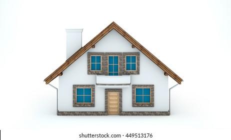 3D illustration of house on white background