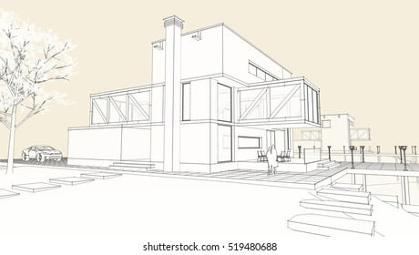 3d illustration, house sketch
