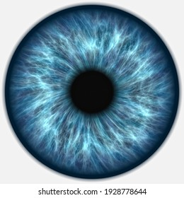 3D illustration of a human blue iris on a white background