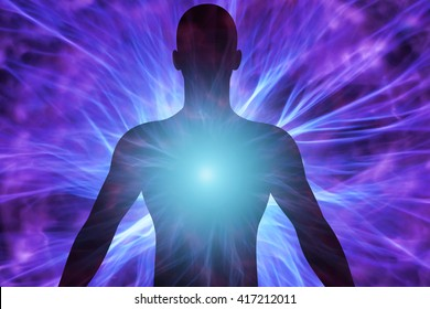 3D illustration of human body with energy beams