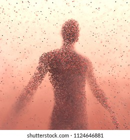 3D illustration. Human body shaped with colored molecules in a science concept image.