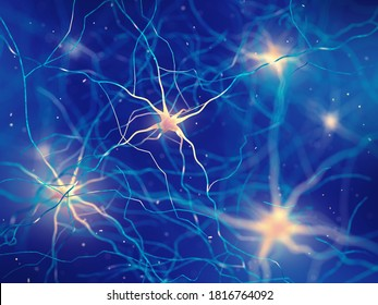 3d illustration of human brain nerve cells , The neurons transmit information between different parts of the brain and between the brain and the rest of the nervous system