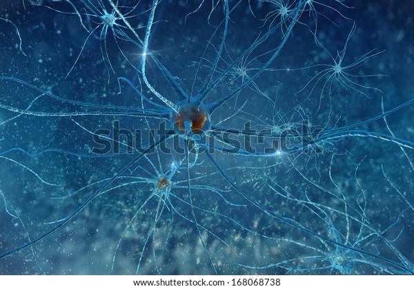 Illustration 3D neurone du cerveau humain sur fond bleu