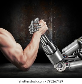 3D illustration human fight against cyborgs