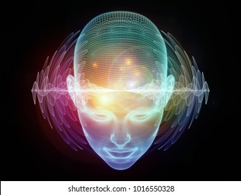 3D Illustration of human head and energy waves on the subject of powers of the mind