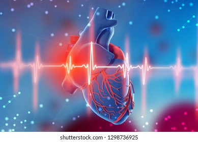 3d illustration of human heart and cardiogram on abstract futuristic blue background. Concept of digital technologies in medicine