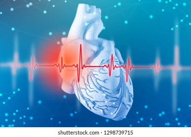 3d illustration of human heart and cardiogram with mesh texture modeling on abstract futuristic blue background. Concept of digital technologies in medicine