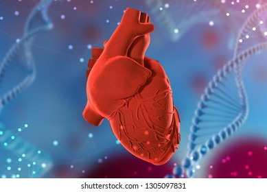 3d illustration of human heart on abstract futuristic blue background. Concept of digital technologies in medicine
