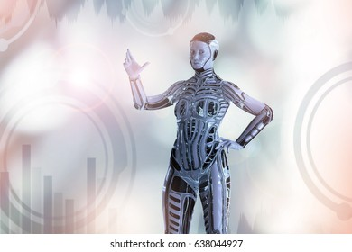3D Illustration of human like female robot cyborg