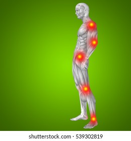 3D illustration of human or man with muscles and articular or bones pain green background metaphor to health, medicine, medical, biology, osteoporosis, arthritis, joint, disease inflammation or ache