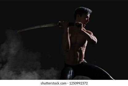 3d Illustration Human Portrait Of A Handsome Muscular Ancient Warrior with A Sword with Clipping Path