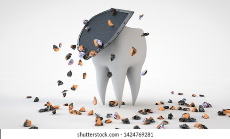 3D illustration of a human tooth hidden behind a shield a lot of broken fragments of microbes on the surface. 3D rendering isolated on white background. Image for toothpaste advertising, prevention.