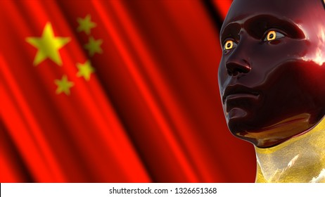 3D Illustration of a Humanoid Robot commonly called Android AI Artificial Intelligence in China Concept