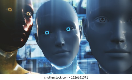 3D Illustration of a Humanoid Robot commonly called Android AI Artificial Intelligence Internet Surveillance