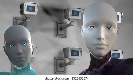 3D Illustration of a Humanoid Robot commonly called Android AI Artificial Intelligence Surveillance Multicamera System