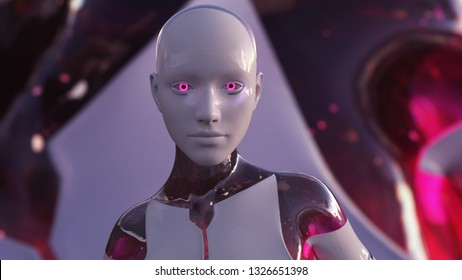 3D Illustration of a Humanoid Robot commonly called Android Female Artificial Intelligence AI Android