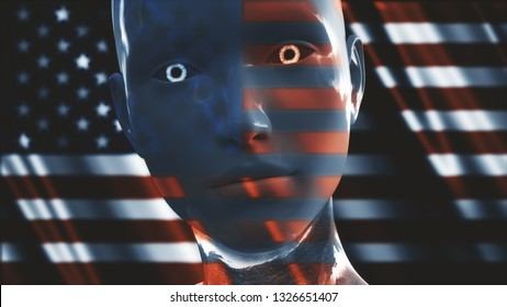 3D Illustration of a Humanoid Robot commonly called Android USA AI Artificial Intelligence Concept