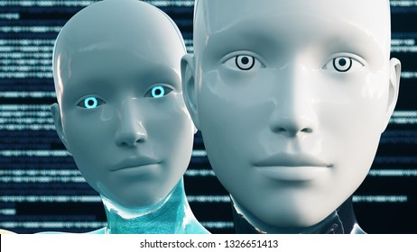 3D Illustration of a Humanoid Robot commonly called Android Female Artificial Intelligence AI