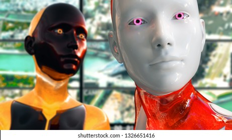 3D Illustration of a Humanoid Robot commonly called Android Artificial Intelligence Surveillance Multicam System