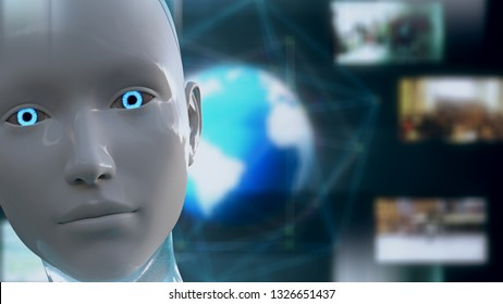 3D Illustration of a Humanoid Robot commonly called Android Artificial Intelligence High Tech Global Surveillance Spying