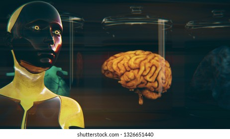 3D Illustration of a Humanoid Robot commonly called Android Artificial Intelligence Medical Concept