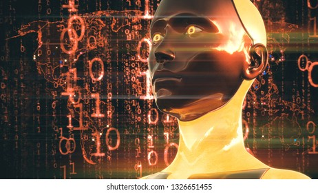 3D Illustration of a Humanoid Robot commonly called Android Artificial Intelligence High Tech Digital Hacker War