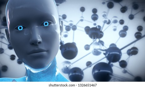 3D Illustration of a Humanoid Robot commonly called Android Artificial Intelligence AI Scientific Concept