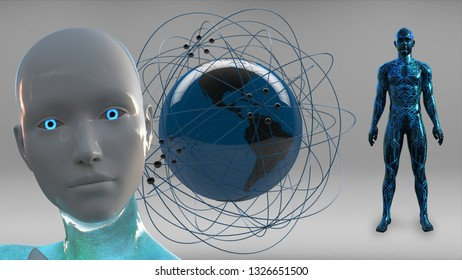 3D Illustration of a Humanoid Robot commonly called Android Artificial Intelligence AI Global Network