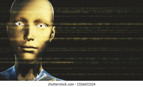 3D Illustration of a Humanoid Robot commonly called Android Artificial Intelligence AI Digital Calculations