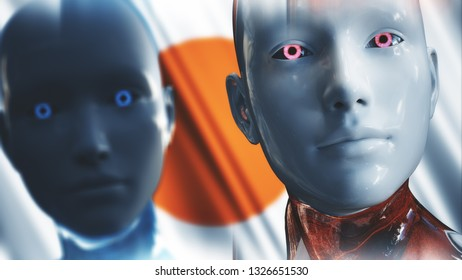 3D Illustration of a Humanoid Robot commonly called Android AI Artificial Intelligence Japan Concept