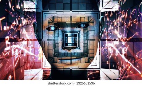 3D Illustration of a Humanoid Robot commonly called Android Artificial Intelligence Science Fiction Scene