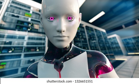 3D Illustration of a Humanoid Robot commonly called Android Artificial Intelligence in Server Room