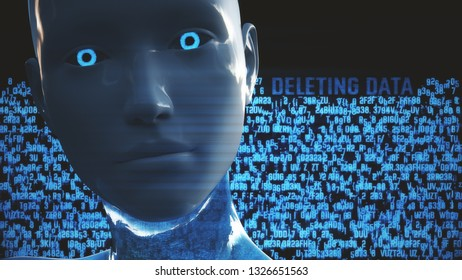 3D Illustration of a Humanoid Robot commonly called Android Artificial Intelligence Hacking Data