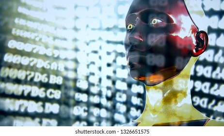 3D Illustration of a Humanoid Robot commonly called Android AI Digital Coding Encryption Decryption