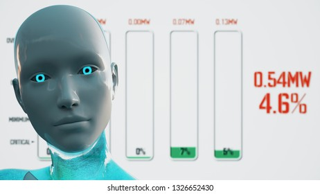 3D Illustration of a Humanoid Robot commonly called Android Artificial Intelligence AI Power Outage Blackout Graphs
