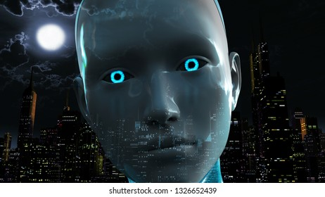 3D Illustration of a Humanoid Robot commonly called Android Artificial Intelligence City Power Outage Blackout