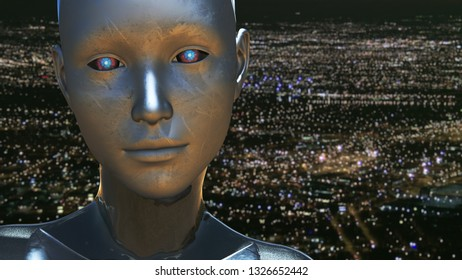 3D Illustration of a Humanoid Robot commonly called Android Artificial Intelligence AI Android City Power Outage Blackout