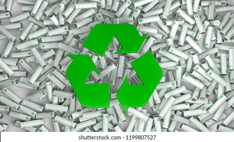 3d illustration of hundreds of colorful batteries and in the middle the green recycle symbol