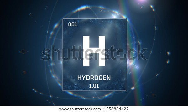 3D illustration of Hydrogen as Element 1 of the Periodic Table. Blue illuminated atom design background with orbiting electrons. Design shows name, atomic weight and element number