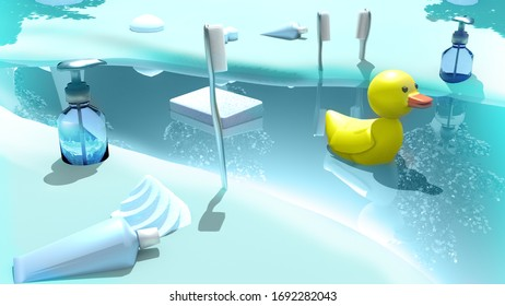 3D Illustration of Hygiene Products
