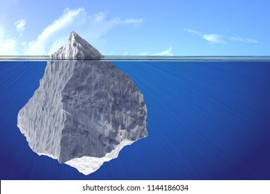 3D illustration of an iceberg under water