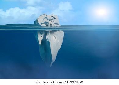 3D Illustration of iceberg under water