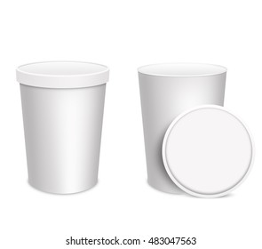 3D illustration. Ice-cream cups Isolated on white background. Mock up.