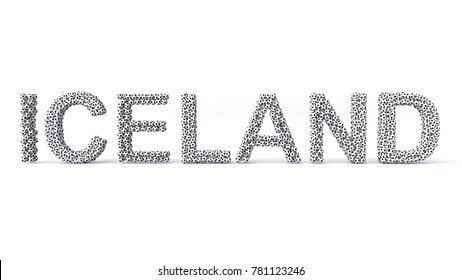 3D illustration of Iceland Text laid out with soccer balls.