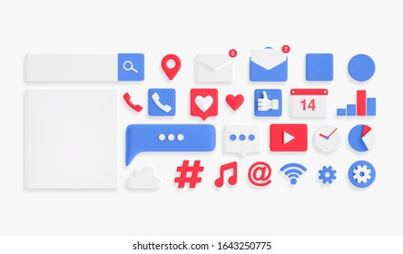 3d illustration icons. Social media Icons set.