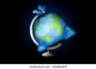 3D Illustration idea showing human waste is a planetary burden.