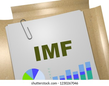 3D illustration of IMF title on business document