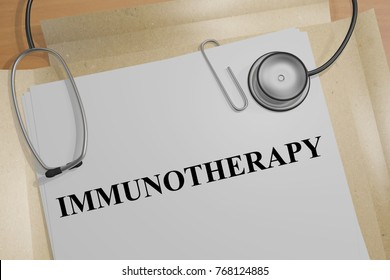 "3D illustration of ""IMMUNOTHERAPY"" title on a medical document"