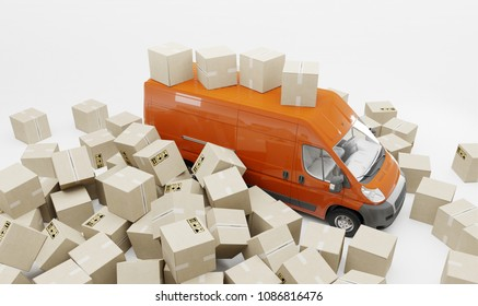 3d illustration. Inaccurate package handling and delivery. Heap of boxes and red van. White background.