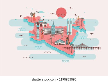 3D Illustration of india with flat india and its wonders on its top with sun and birds with sea.